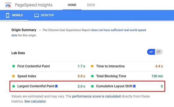 métricas Core Web Vitals